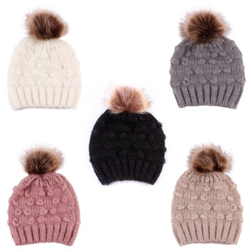 Cute Toddler Kids Girls Boys Winter Warm Crochet Knitted Hat Infant Baby Beanie Solid With Cute 2