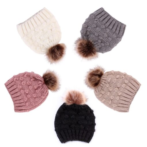 Cute Toddler Kids Girls Boys Winter Warm Crochet Knitted Hat Infant Baby Beanie Solid With Cute 3