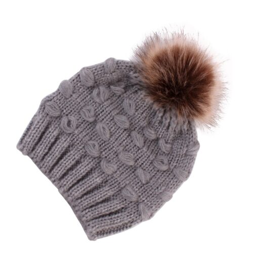 Cute Toddler Kids Girls Boys Winter Warm Crochet Knitted Hat Infant Baby Beanie Solid With Cute 4