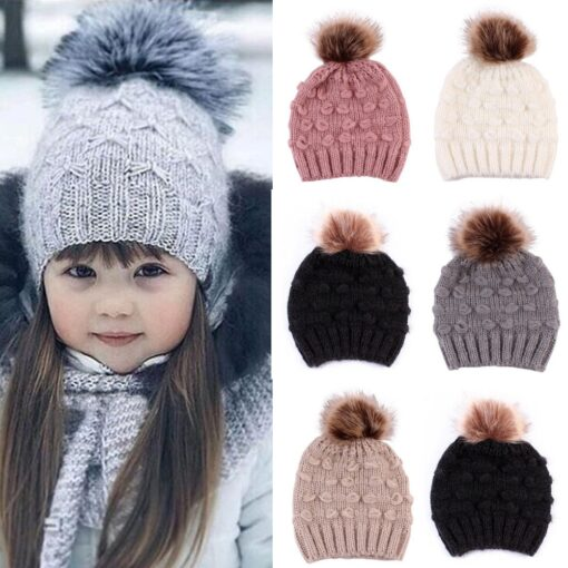 Cute Toddler Kids Girls Boys Winter Warm Crochet Knitted Hat Infant Baby Beanie Solid With Cute