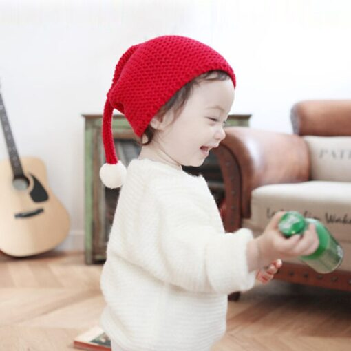 Cute warm autumn and winter hat solid color elf long tail cap Children s woolen Christmas 1