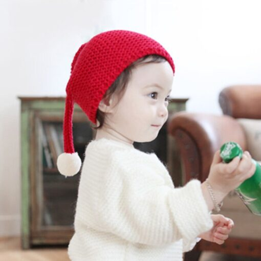 Cute warm autumn and winter hat solid color elf long tail cap Children s woolen Christmas 2