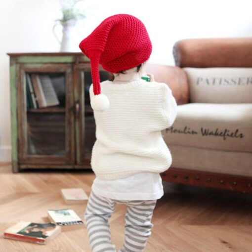 Cute warm autumn and winter hat solid color elf long tail cap Children s woolen Christmas 3