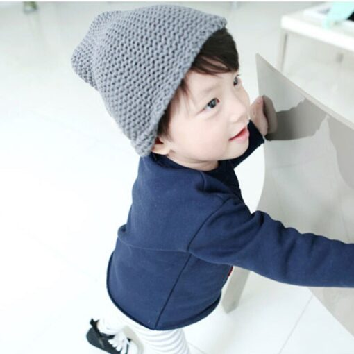 Cute warm autumn and winter hat solid color elf long tail cap Children s woolen Christmas 4