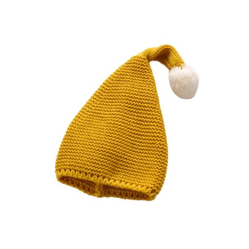 Cute warm autumn and winter hat solid color elf long tail cap Children s woolen Christmas 5