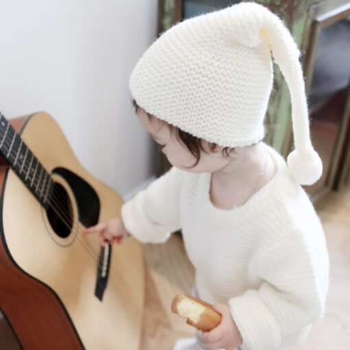 Cute warm autumn and winter hat solid color elf long tail cap Children s woolen Christmas