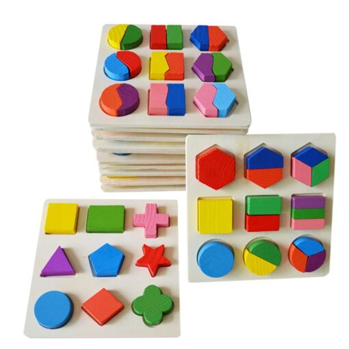 DIY Imagination Kids Baby Wooden Geometry Building Puzzle Early Learning Educational Toy Educational Toys Do It