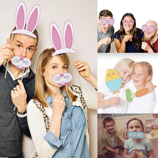 DIY Photo Frame Happy Rabbit Eggs Easter Photograph Props Kits Party Hanging Banners Decor Baby Shower 3