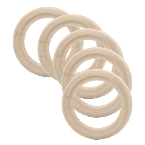 DIY Wooden Beads Connectors Circles Rings Beads Lead Free Natural Wood 2