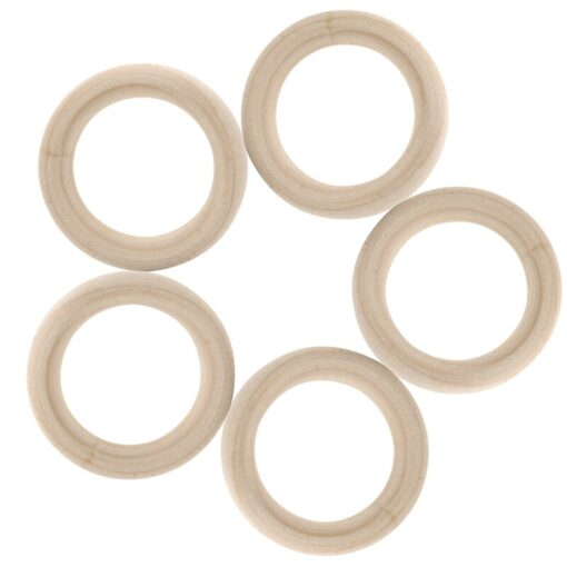 DIY Wooden Beads Connectors Circles Rings Beads Lead Free Natural Wood 5