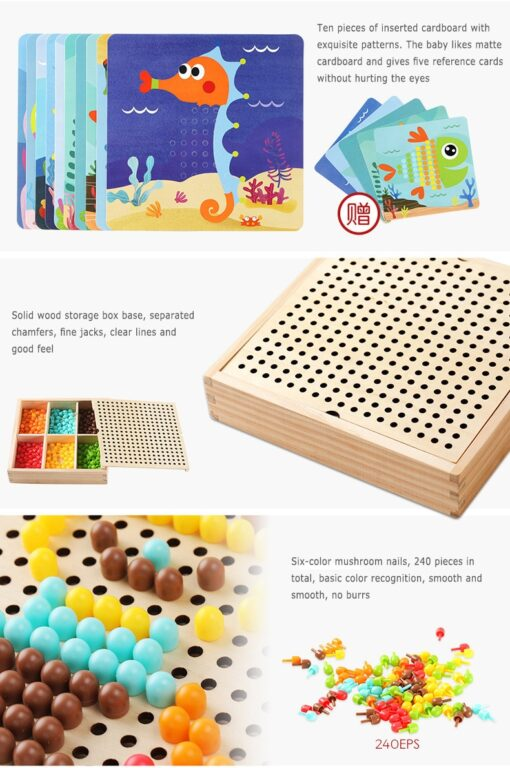 DIY Wooden Creative Mushroom Nail Puzzle Children Learn Early Mental Exercise Combination Educational Toys Board 2