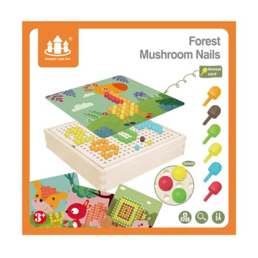 DIY Wooden Creative Mushroom Nail Puzzle Children Learn Early Mental Exercise Combination Educational Toys Board 3