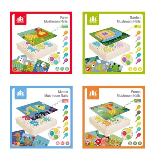 DIY Wooden Creative Mushroom Nail Puzzle Children Learn Early Mental Exercise Combination Educational Toys Board 4