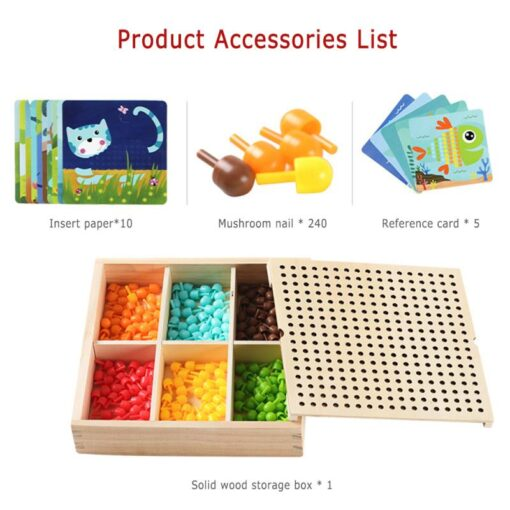 DIY Wooden Creative Mushroom Nail Puzzle Children Learn Early Mental Exercise Combination Educational Toys Board 5
