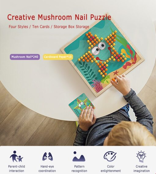 DIY Wooden Creative Mushroom Nail Puzzle Children Learn Early Mental Exercise Combination Educational Toys Board