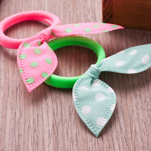 Delivery 24 Hours 10pcs Bow Hairband With Polka Dot Rabbit Ears High Elastic Hairband Portable And 2