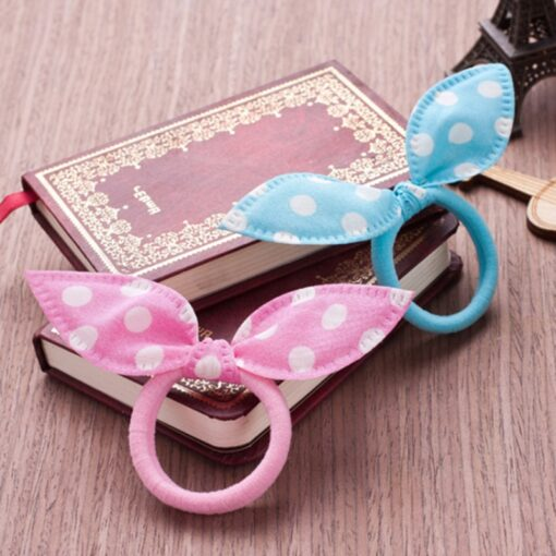 Delivery 24 Hours 10pcs Bow Hairband With Polka Dot Rabbit Ears High Elastic Hairband Portable And 4