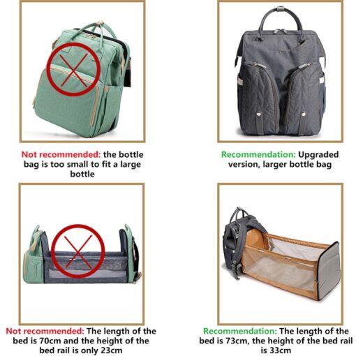 Diaper Bag Backpack Multifunctional Waterproof Large Capacity Maternity Hospital Baby Care Nappy Fold Crib Bags Backpacks 2