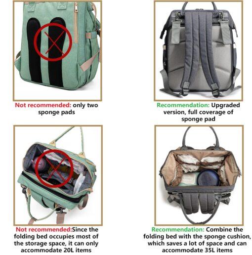 Diaper Bag Backpack Multifunctional Waterproof Large Capacity Maternity Hospital Baby Care Nappy Fold Crib Bags Backpacks 3