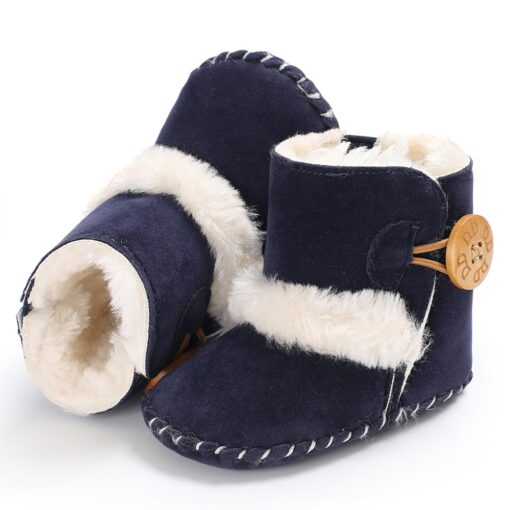 Dihope Newborn Infant Baby Girls Snow Boots Winter Warm Shoes Solid Button Plush Ankle Boots Winter 1