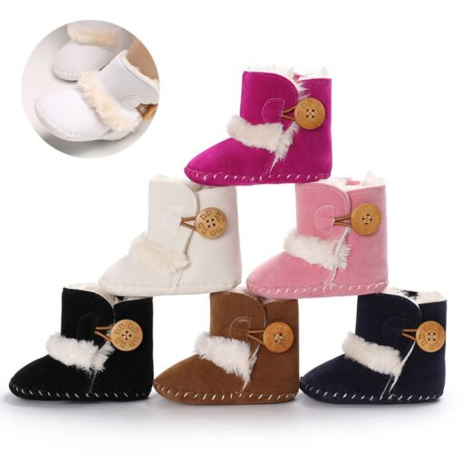 Dihope Newborn Infant Baby Girls Snow Boots Winter Warm Shoes Solid Button Plush Ankle Boots Winter 2