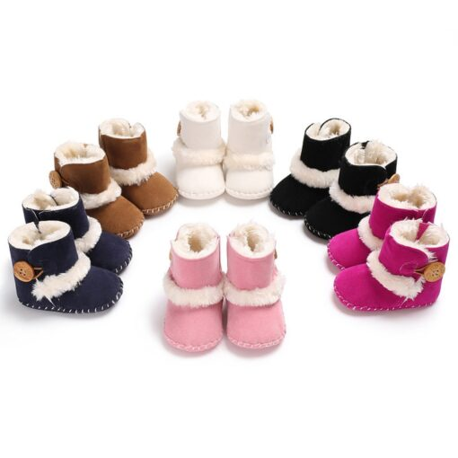 Dihope Newborn Infant Baby Girls Snow Boots Winter Warm Shoes Solid Button Plush Ankle Boots Winter 3