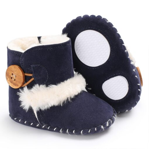 Dihope Newborn Infant Baby Girls Snow Boots Winter Warm Shoes Solid Button Plush Ankle Boots Winter 5