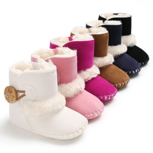 Dihope Newborn Infant Baby Girls Snow Boots Winter Warm Shoes Solid Button Plush Ankle Boots Winter