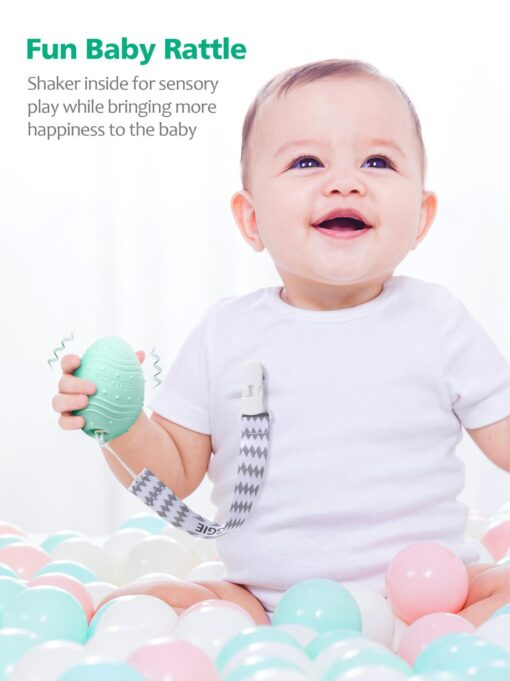 Dino Eggie Baby Teether Egg Shaped Teething Toy BPA Free CPSC Lab Tested and Approv 3M 3