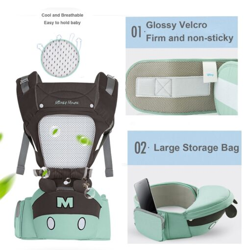 Disney 0 36 Months Bow Breathable Front Facing Baby Carrier Hipseat 20kg Infant Comfortable Sling Backpack 6