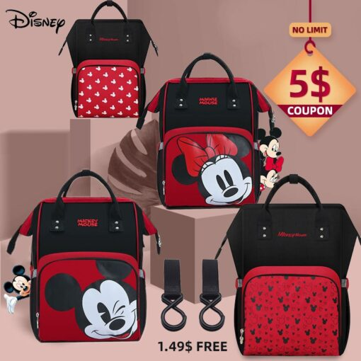 Disney Minnie Mickey Diaper Bag Baternity Baby Multifunctional Stroller Nappy Bag travel Backpack For Mom USB 1