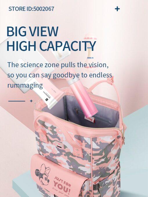 Disney Pink Series Baby Bag USB Diaper Bag Waterproof Mommy Bag Backpack For Travel Maternity Stroller 1