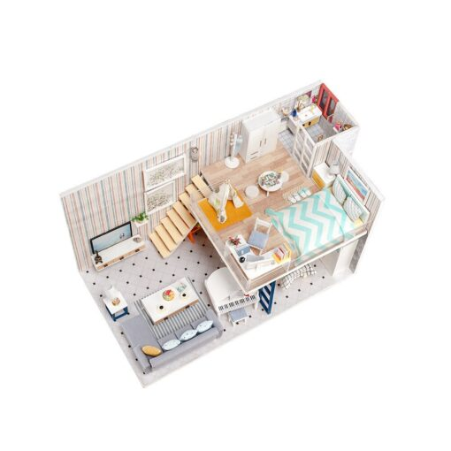 Doll House 3D Wooden DIY Miniature House dollhouse furniture LED House Decorate Creative Christmas Gifts Toys 1