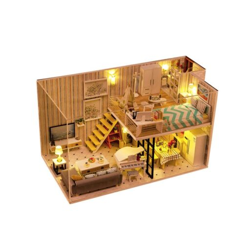 Doll House 3D Wooden DIY Miniature House dollhouse furniture LED House Decorate Creative Christmas Gifts Toys 2