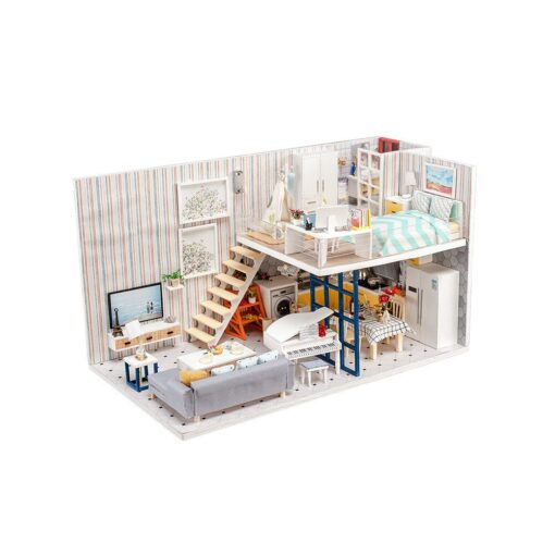 Doll House 3D Wooden DIY Miniature House dollhouse furniture LED House Decorate Creative Christmas Gifts Toys 3