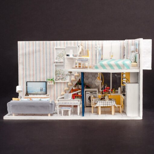 Doll House 3D Wooden DIY Miniature House dollhouse furniture LED House Decorate Creative Christmas Gifts Toys 4