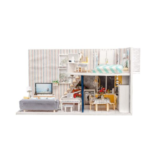 Doll House 3D Wooden DIY Miniature House dollhouse furniture LED House Decorate Creative Christmas Gifts Toys 5
