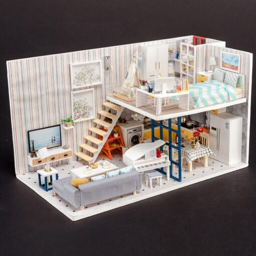 Doll House 3D Wooden DIY Miniature House dollhouse furniture LED House Decorate Creative Christmas Gifts Toys