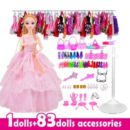 Doll With 83 Accessories DIY Dressup Toys For Girls Fashionista Ultimate Fashion Princess Dolls Set