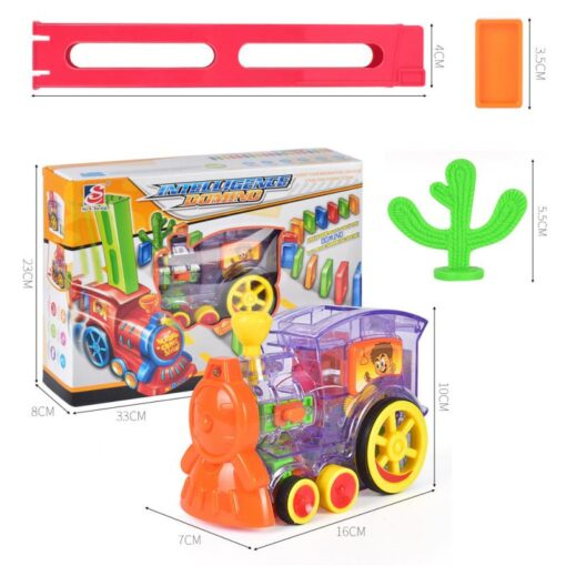 Domino Train Toy Set Rally Electric Train Model With 60 Pcs Colorful Domino Game Building Blocks 2