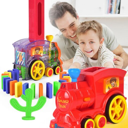 Domino Train Toy Set Rally Electric Train Model With 60 Pcs Colorful Domino Game Building Blocks