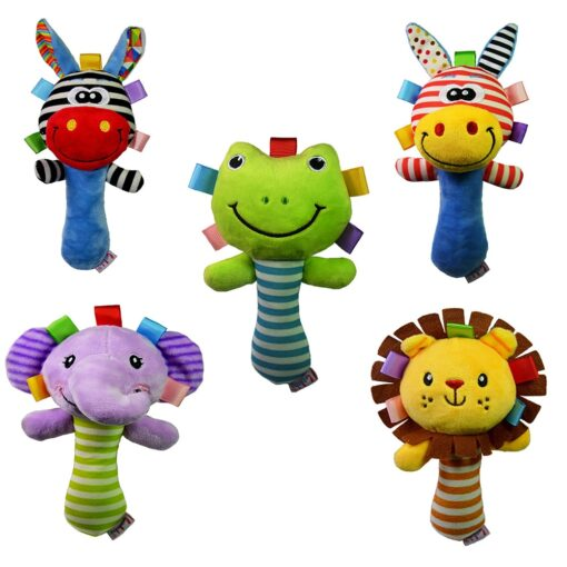 Drop ship Baby Rattles Baby Toys Cute Cartoon Animal Hand Bell Rattle Soft Toddler Plush Mobiles 1
