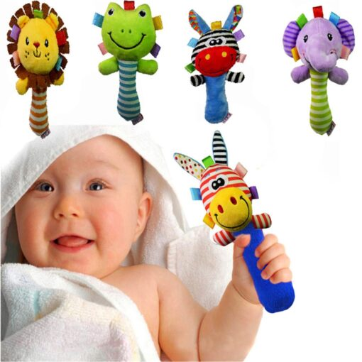 Drop ship Baby Rattles Baby Toys Cute Cartoon Animal Hand Bell Rattle Soft Toddler Plush Mobiles