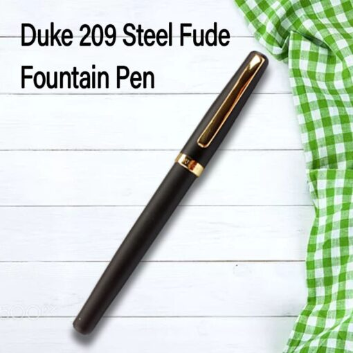 Duke 209 Steel Fude Fountain Pen Calligraphy Bent Nib Matte Black with Gold Clip 4