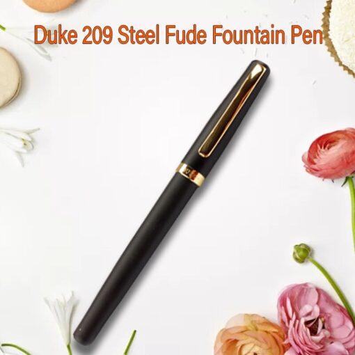 Duke 209 Steel Fude Fountain Pen Calligraphy Bent Nib Matte Black with Gold Clip