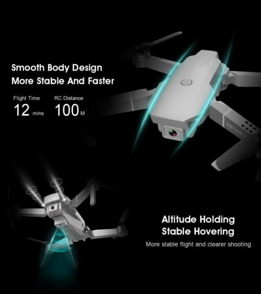 E68 Pro WIFI FPV Quadcopter 4K 1080P HD With Wide Angle Camera Foldable Altitude Hold Durable 1