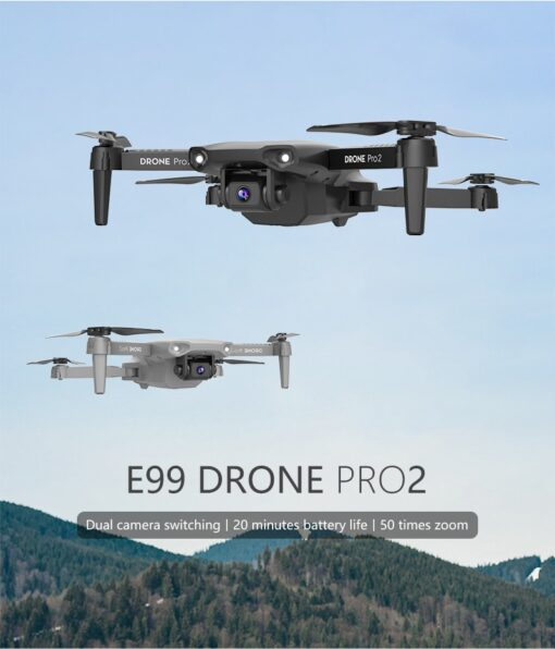 E99 Pro WIFI FPV Quadcopter With 4K HD Wide Angle Camera Foldable Altitude Hold Durable RC 1