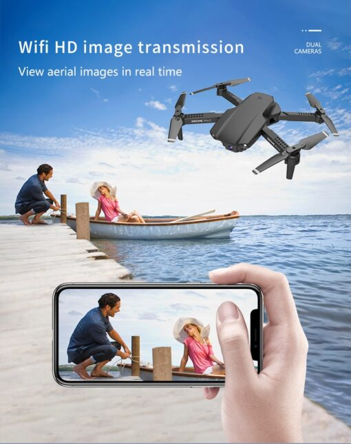 E99 Pro WIFI FPV Quadcopter With 4K HD Wide Angle Camera Foldable Altitude Hold Durable RC 3