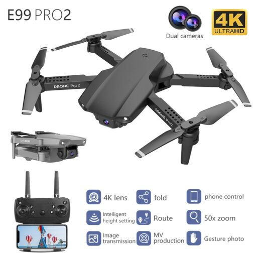 E99 Pro WIFI FPV Quadcopter With 4K HD Wide Angle Camera Foldable Altitude Hold Durable RC