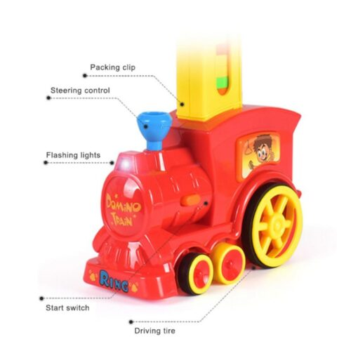 Electric Domino Train Car Vehicle Model Magical Automatic Set Up Colorful Plastic Dominoes Toys Educational Toys 3